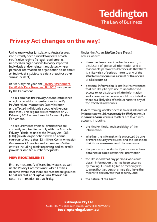 Privacy Act Changes Notification